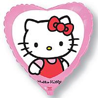 Шар 18'' (45см)  сердце     котенок с бантиком розовый