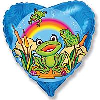Шар 18'' (45см)  сердце     счастливый лягушонок синий