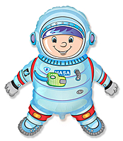 Шар 32'' (81см)  фигура     космонавт голубой