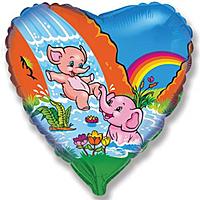 Шар 18'' (45см)  сердце     веселые слонята