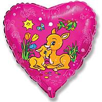 Шар 18'' (45см)  сердце     оленята фуше