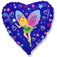 Шар 18'' (45см)  сердце     леди бабочка синий