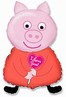 Шар 32'' (81см)  фигура     поросенок с сердцем розовый