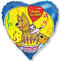 Шар 18'' (45см)  сердце     с днем рождения животные синий
