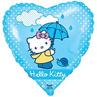 Шар 18'' (45см)  сердце     котенок с зонтиком голубой