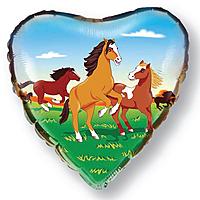 Шар 18'' (45см)  сердце     лошади