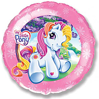 Шар 18'' (45см)  круг     маленькая лошадка розовый