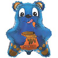 Шар 22'' (55см)  фигура     медведь с мёдом синий