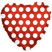 Шар 18'' (45см)  сердце     в  горошек красный