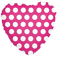 Шар 18'' (45см)  сердце     в  горошек фуше